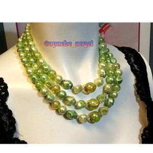 Vintage Green Peridot Color 3 Strand Necklace